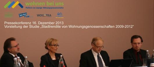 """Pressekonferenz """"Stadtrendite von Wohnungsgenossenschaftebn 2009-2012"""" am 16. Dezember 2013 in Leipzig"""